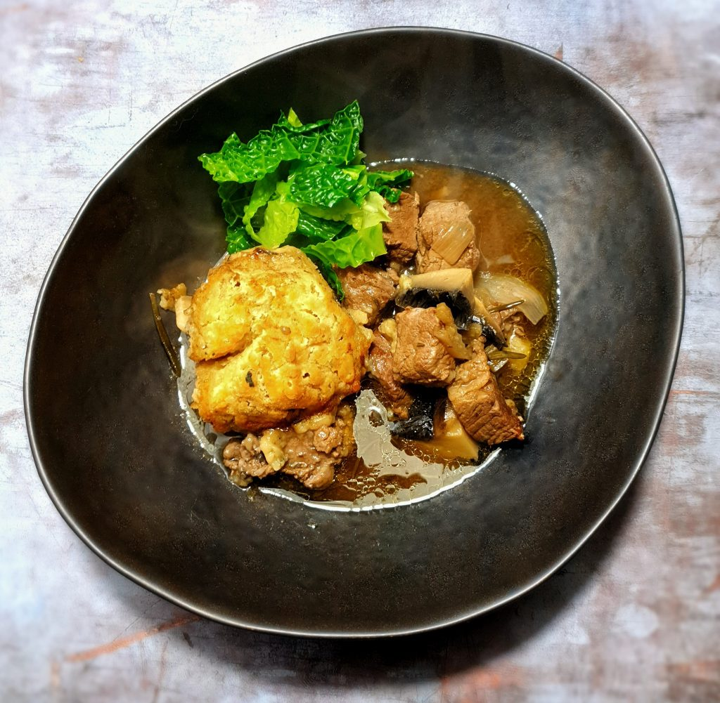 Beef casserole with greens