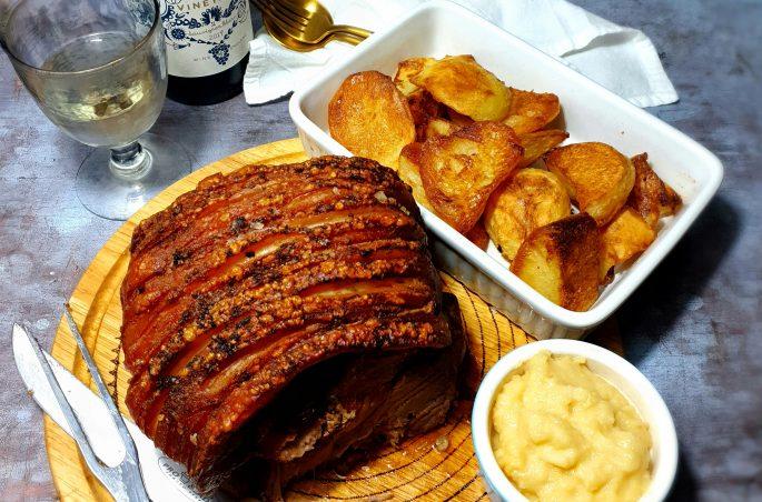 Pork, potatoes, sauce, and wine