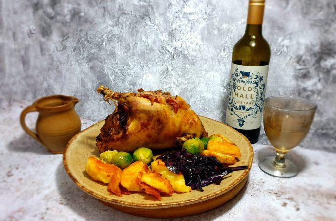Roast pheasant with wine