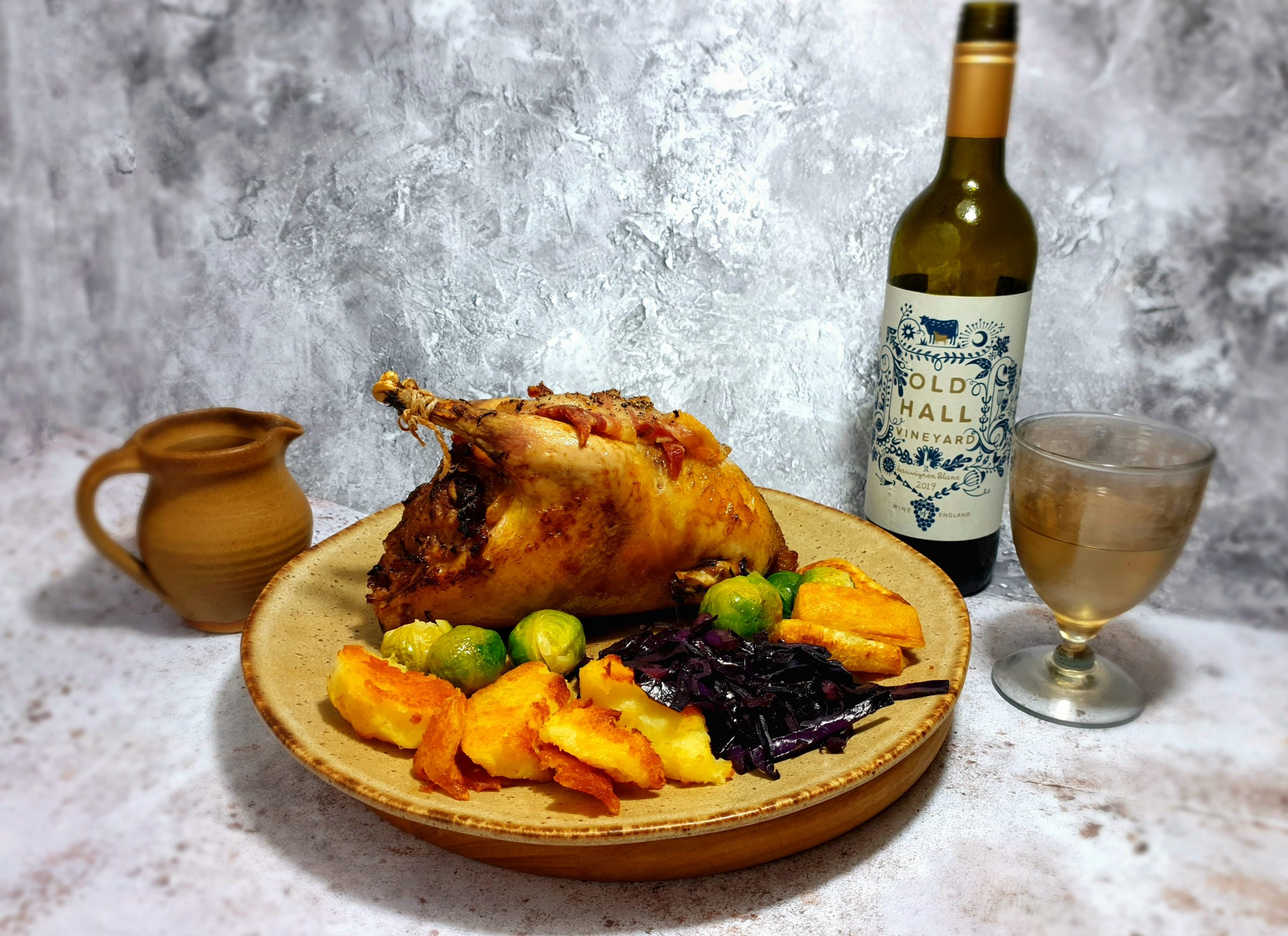 Roast pheasant with wine
