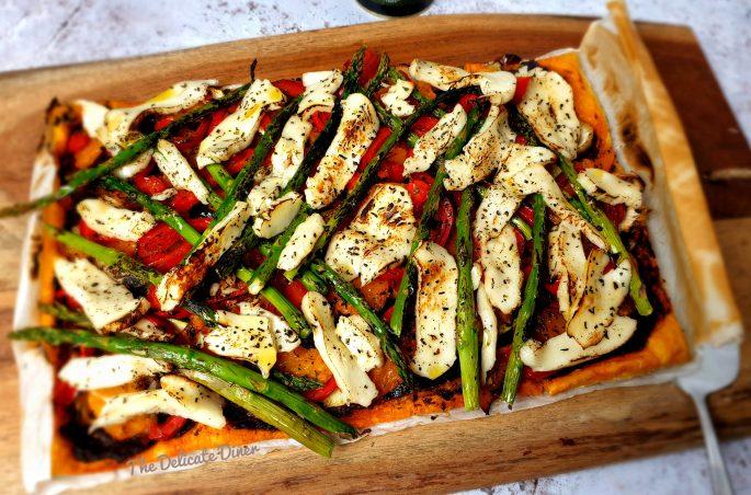 Halloumi and roasted vegetable tart