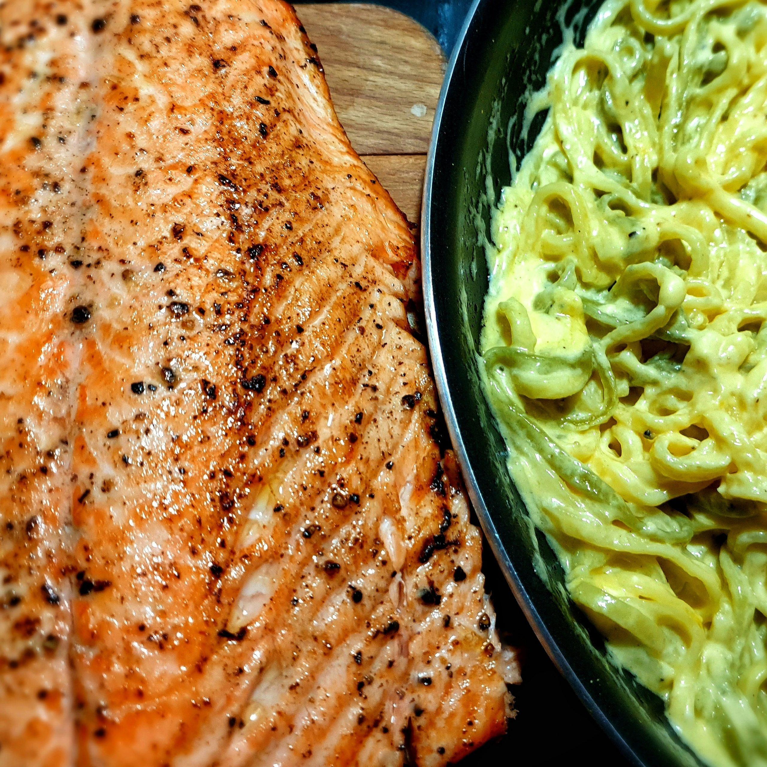 Salmon and lemon linguine pasta recipe
