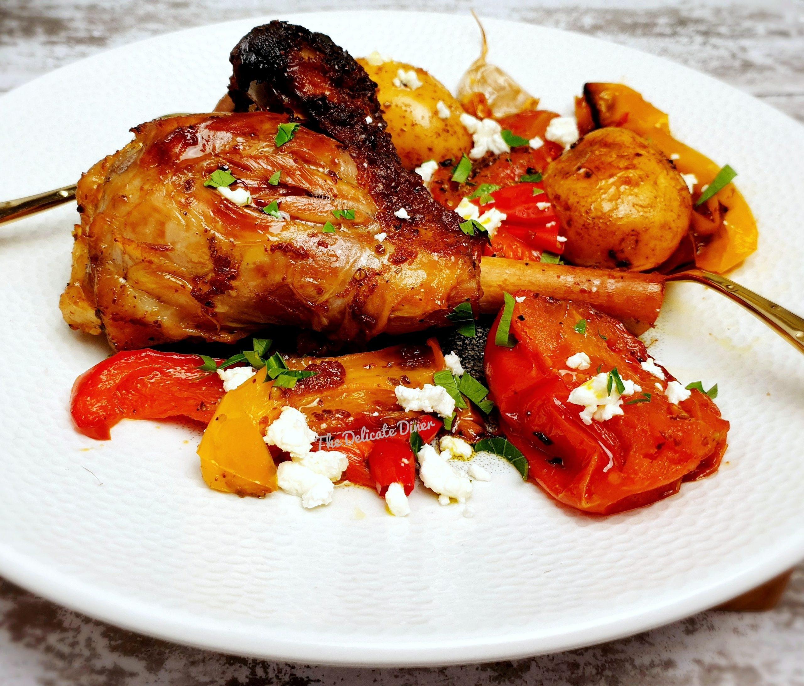 Honey Harissa lamb shanks Yare Valley Oil potatoes garlic